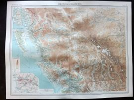 Bartholomew 1922 Large Map. British Columbia